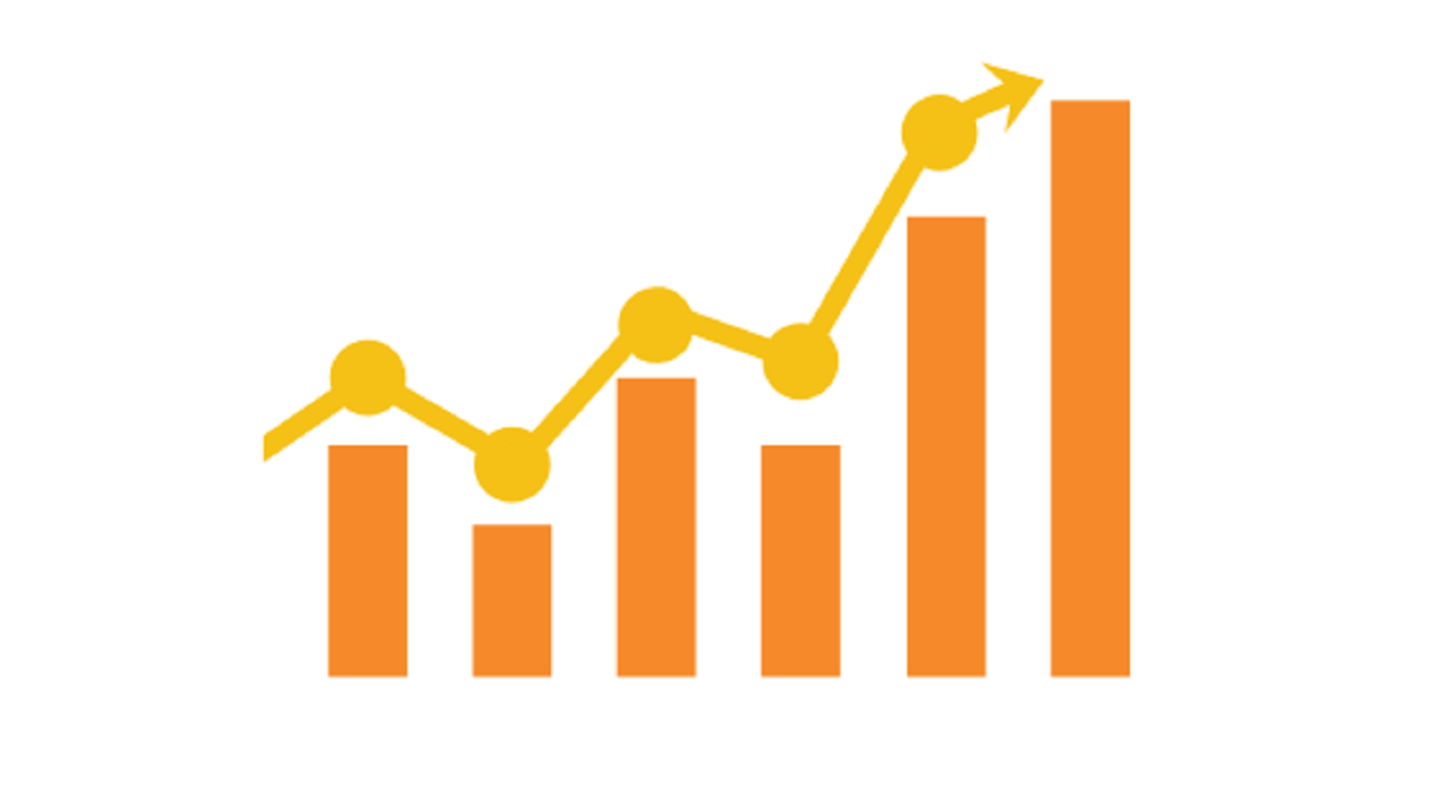 In-line graphic image: uneven orange bar graph with jagged yellow line for plot points depicting how SEO and Content marketing work together to increase rankings.