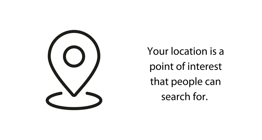 Image: sub header text Your location is a point of interest that people can search for.