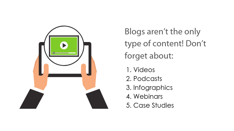 Image: hands holding tablet with online video player and sub header title text Blogs aren't the only type of content.