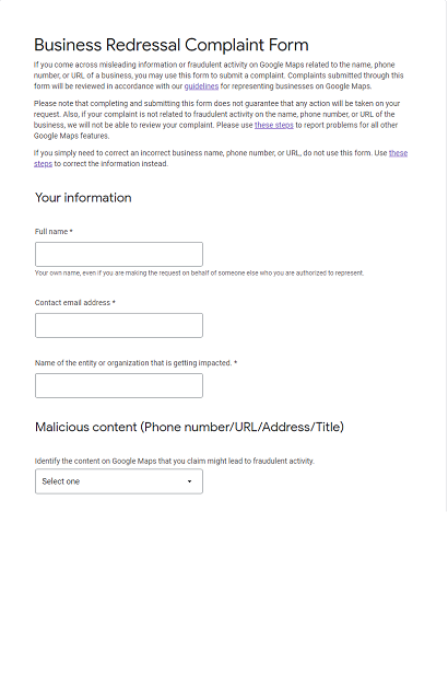 Google Support Business Redressal Complaint Form Text top
