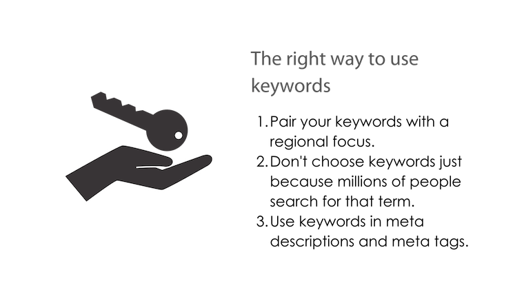 Image: Bullet Point Title Graphic The right way to use keywords; 1. pair keywords with a regional focus; 2. Don't choose keywords just because millions of people search for that term; Use keywords in meta descriptions and meta tags.