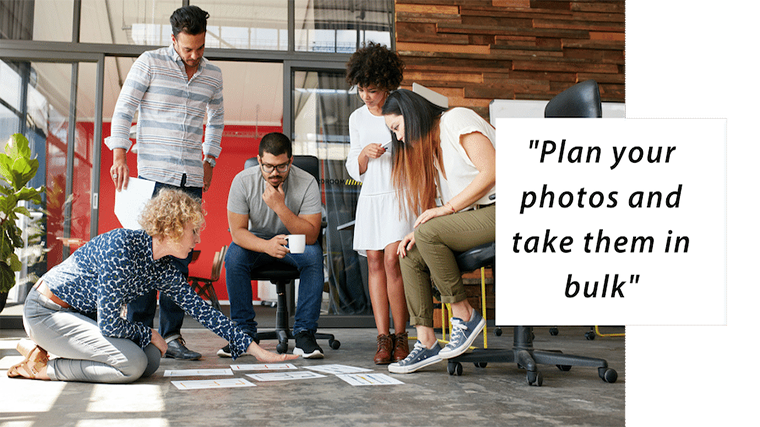 Image: A blonde woman arranges papers on the floor while 2 male and 2 female coworkers stand, sit and look on. Sub hedaer title text Plan your photos and take them in bulk