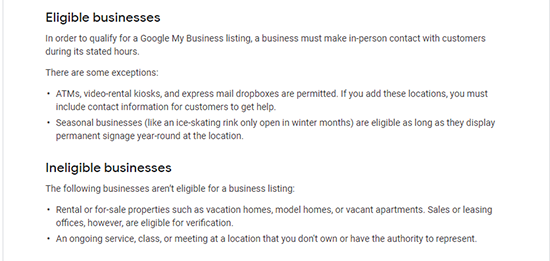 Image: Screenshot of GMB guidelines for eligible GMB listing business types