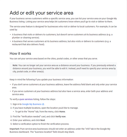 Image: screenshot of GMB guidelines for adding your service area to your GMB listing.