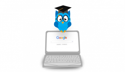 Image: blue own wearing graduation cap sits ontop of a laptop displaying the Google search homepage