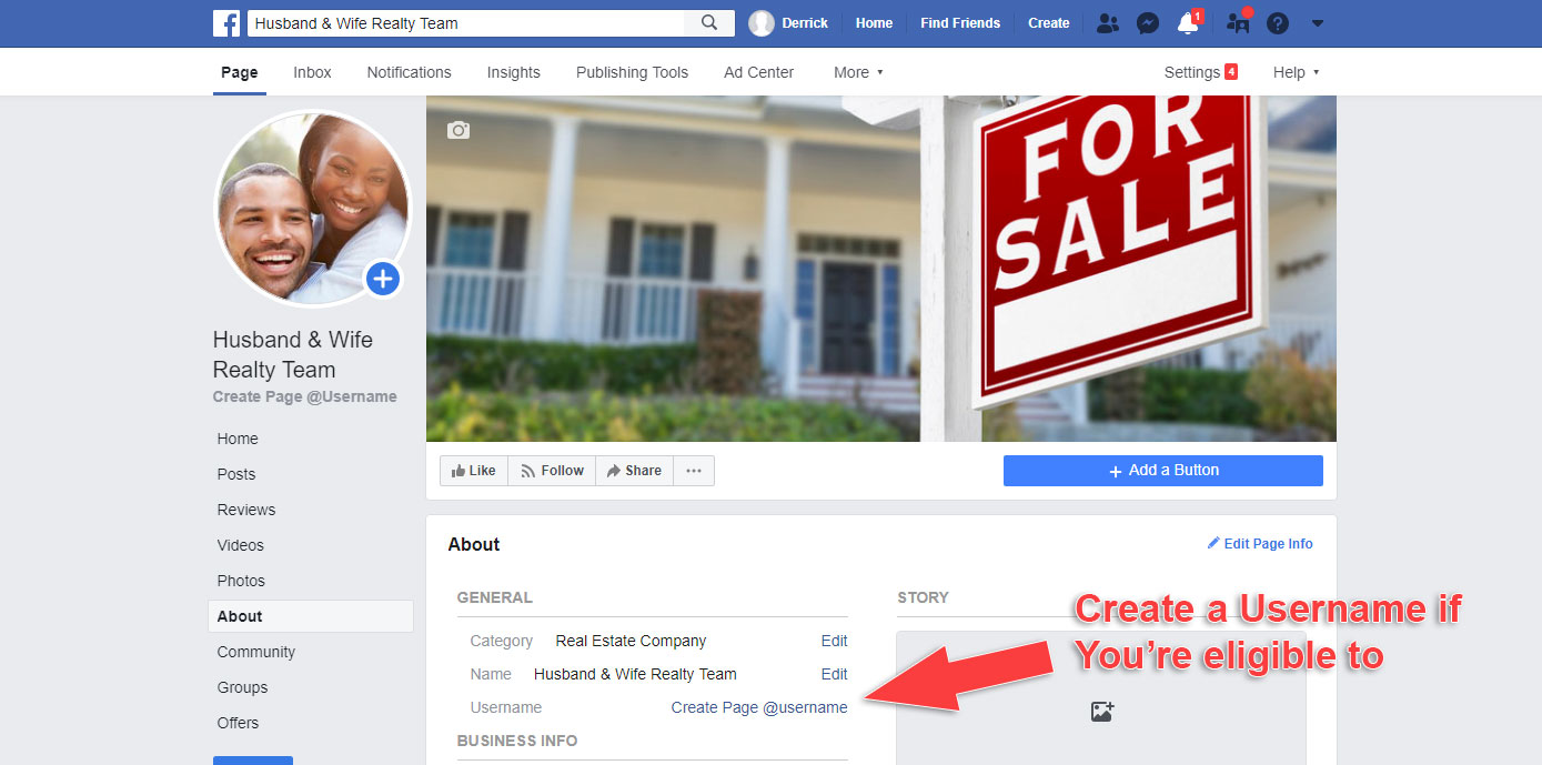 How to Make a Business Page on Facebook - Create Username