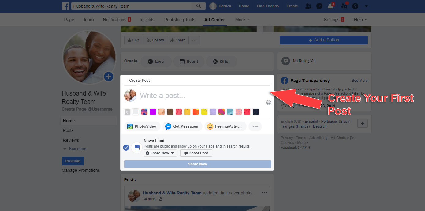 How to Make a Business Page on Facebook - Create New Post