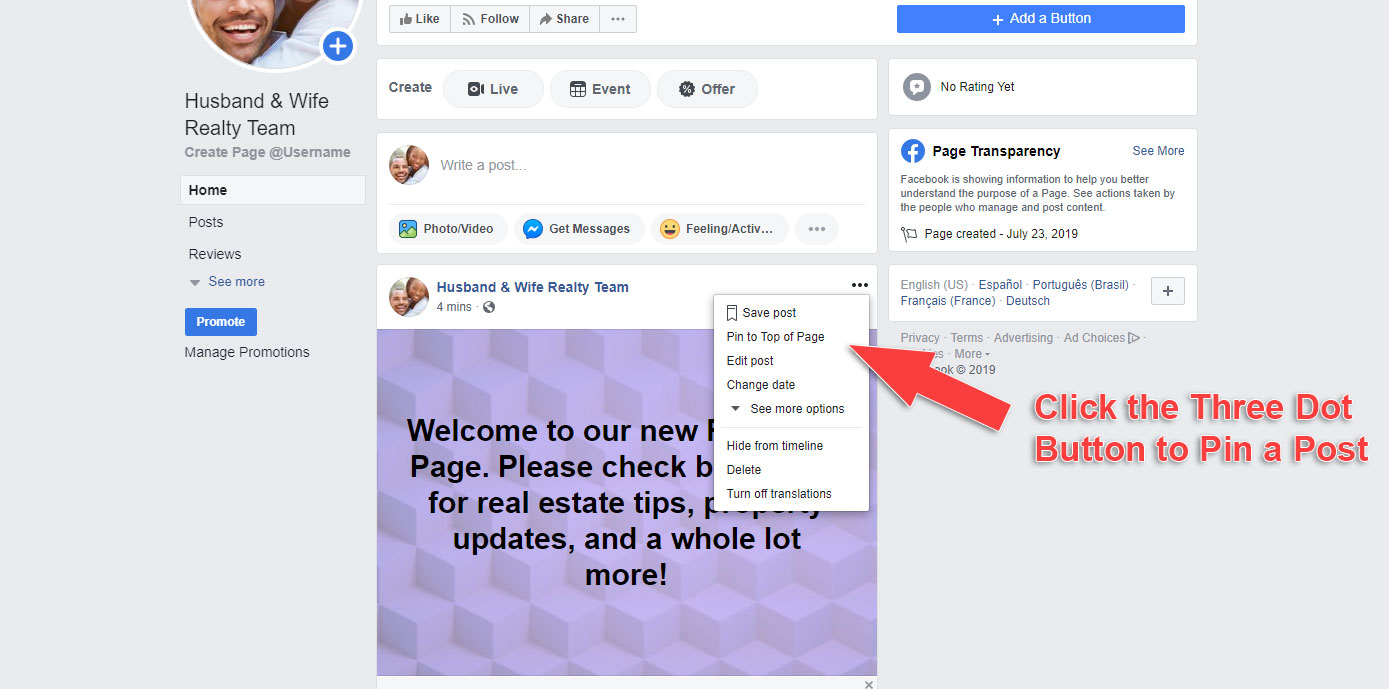 How to Make a Business Page on Facebook - Pin a Post