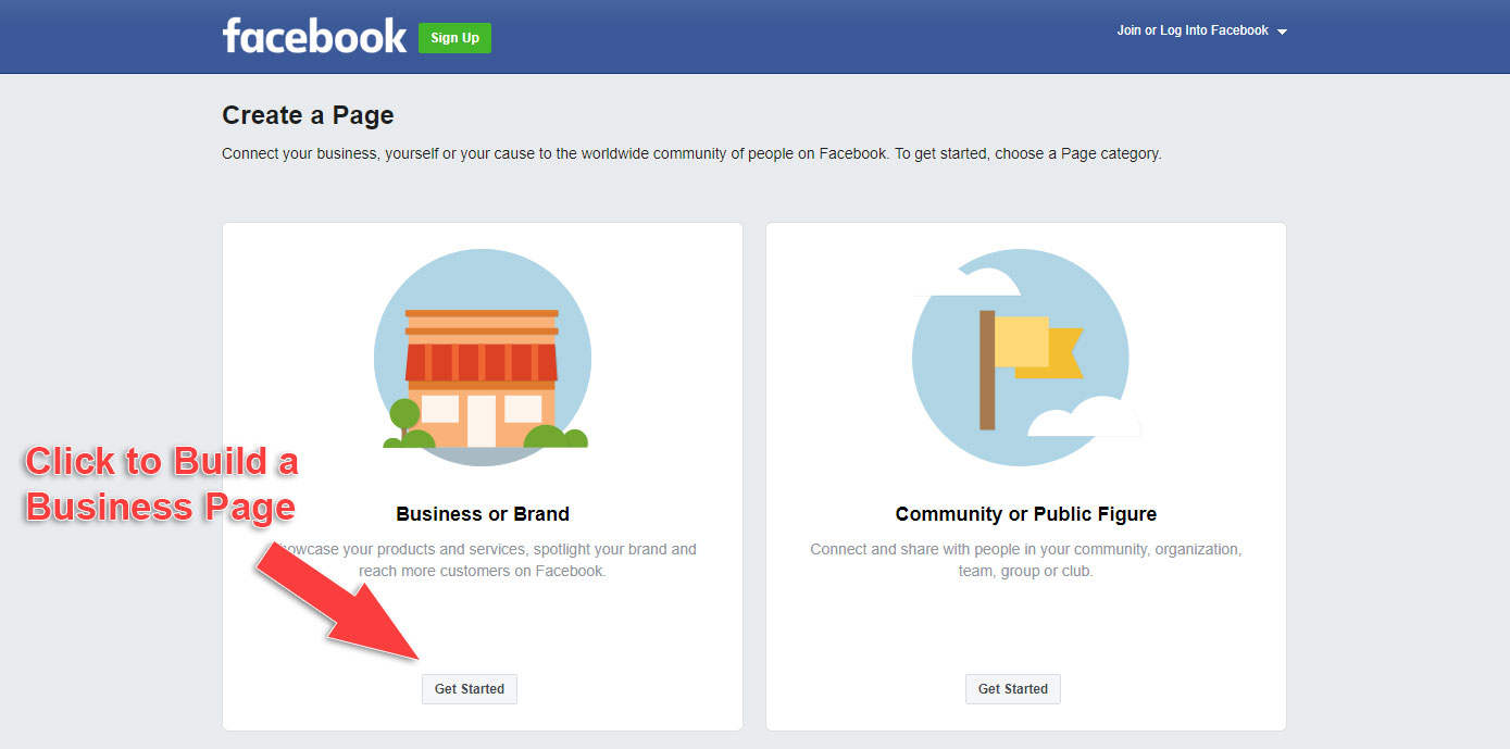 How to Make a Business Page on Facebook - Click Get Started