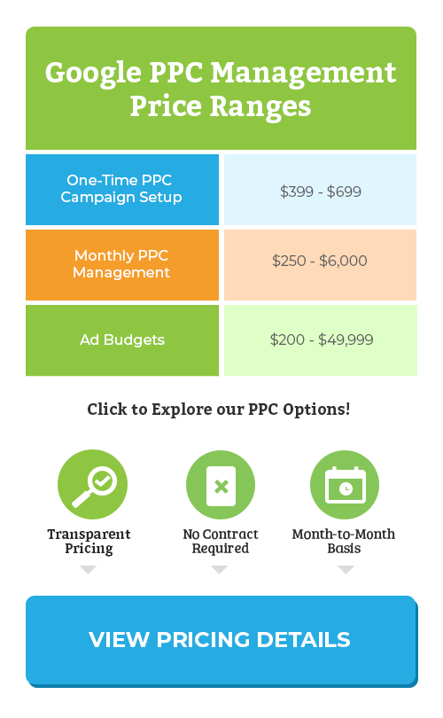 PPC Management Pricing Table