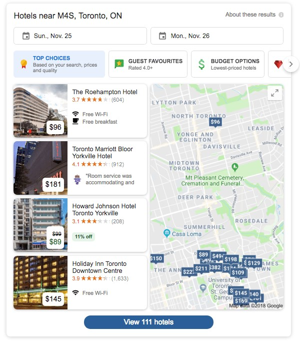 Google's New Local 4-Pack Hotel Search Results