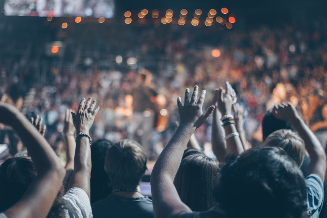 An audience of teen boys in a stadium seen from behind with arms raised to symbolize a Facebook Audience