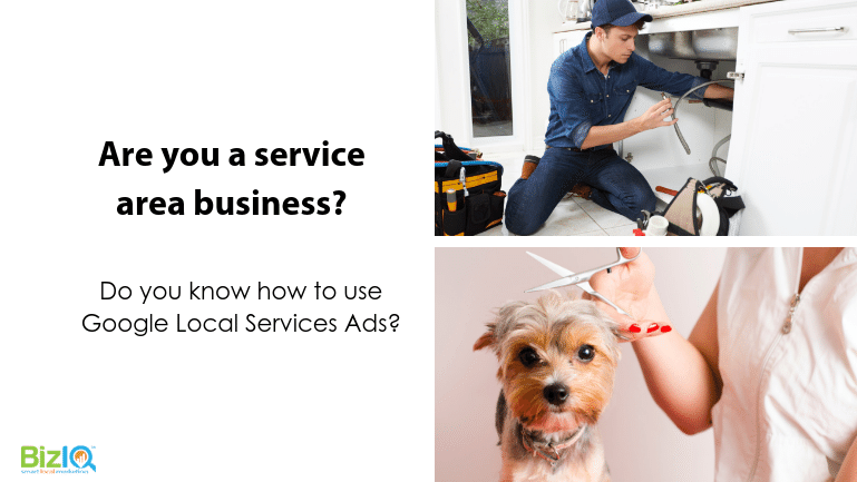 Image: 2 images 1 of a plumber in blue fixing a sink and 1 of the torso of a dog groomer trimming a small long-haired yorkie type dog's hair. Text reads Are you a service area business? Do you know how to use Google Local Services Ads?