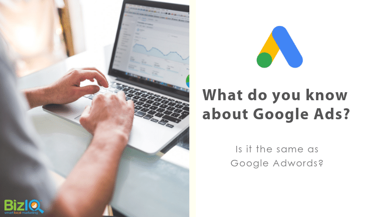 Image: we see hands typing on a laptop displaying blurred google analytics screen. Text reads What do you know about Google Ads? Is it the same as Google Adwords?