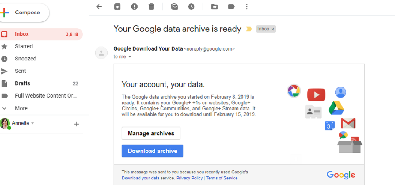 In-Line Blog Graphic screenshot of emailed Google+ data with blue button that reads Download archive.