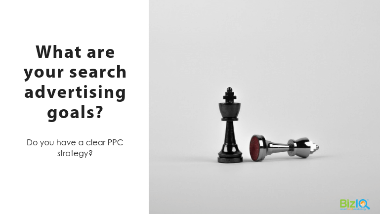 Image: 2 chess pawns, one black standing upright and one silver lying on its side, Text reads What are your search advertising goals? Do you have a clear PPC strategy?