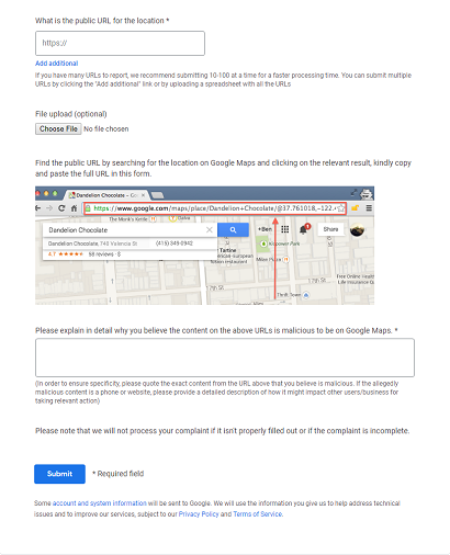 Google Support Business Redressal Complaint Form Text bottom