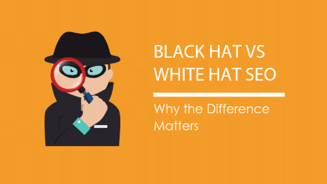 Image: Blog Title Graphic Black Hat vs White Hat SEO