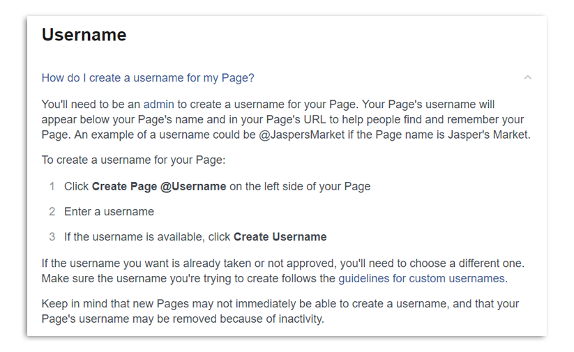 How to Make a Business Page on Facebook - Create Username Rules