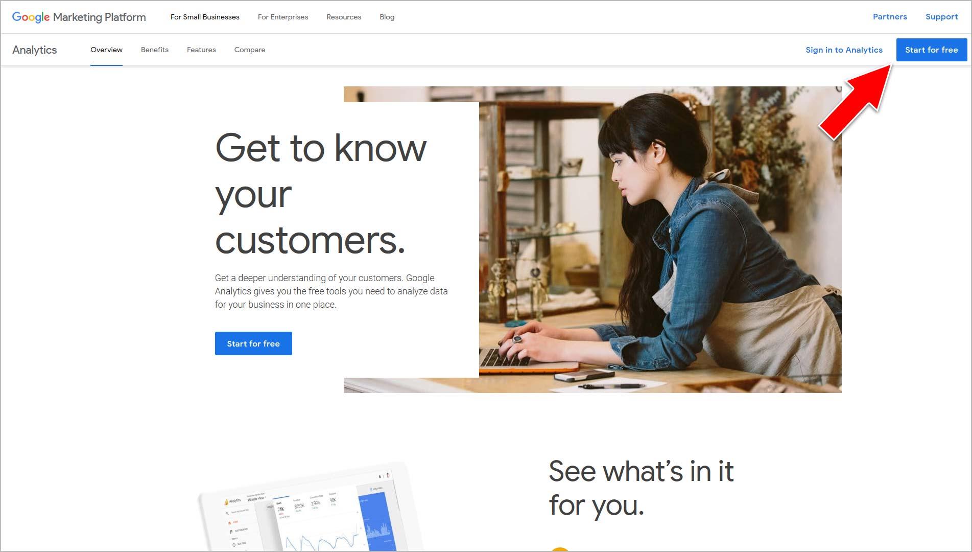 Go to Google.com/analytics