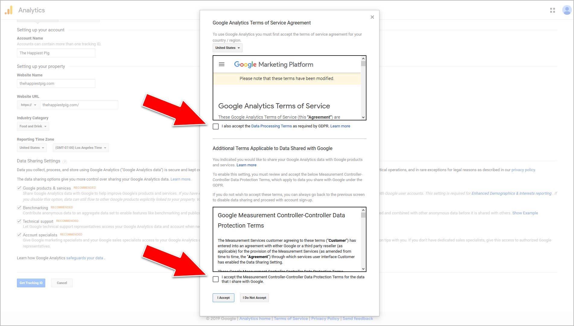 Accept Googles TOS