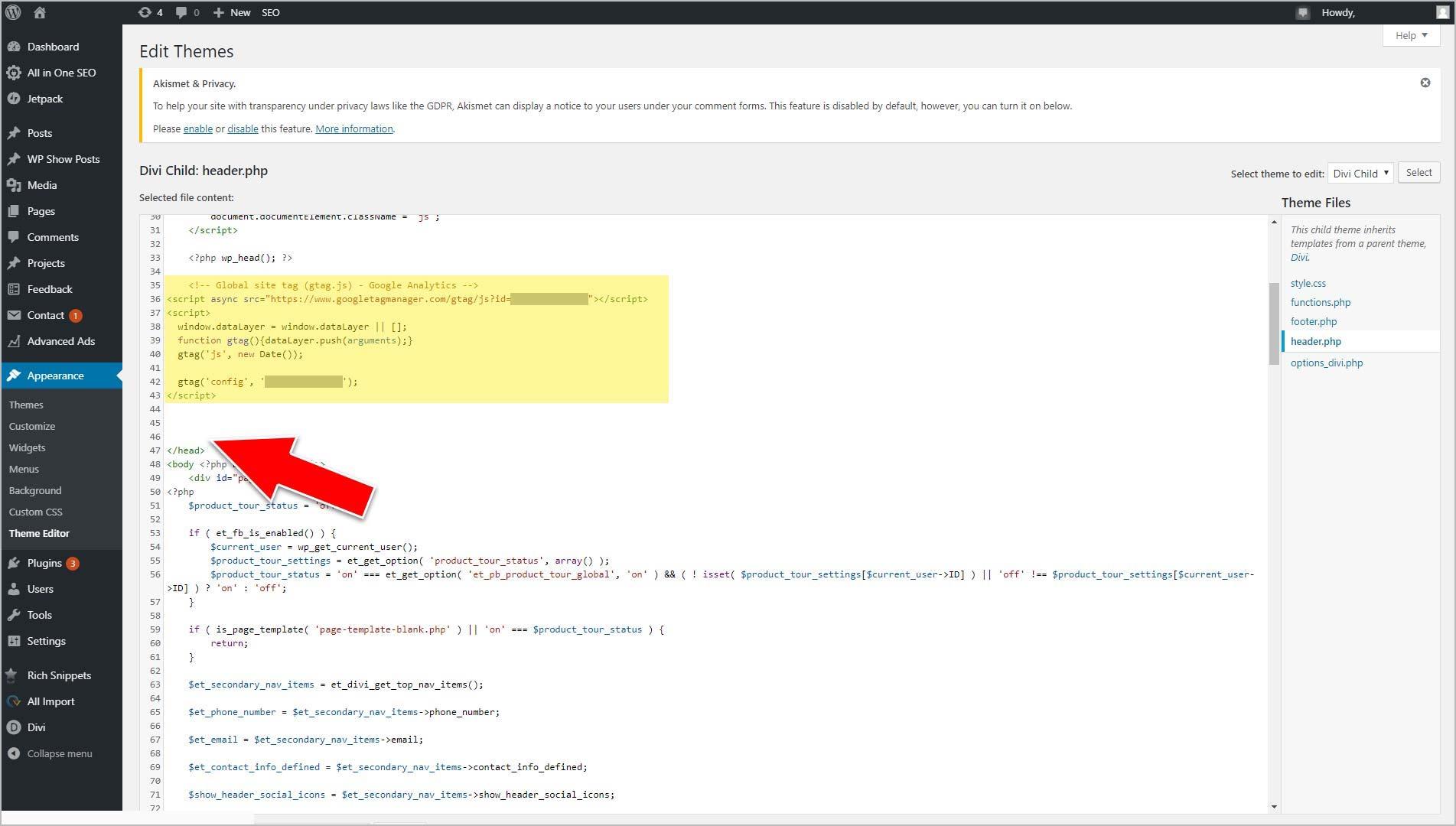 Paste Google Analytics' Script Above </head>