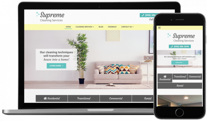 supreme cleans responsive website from biziq